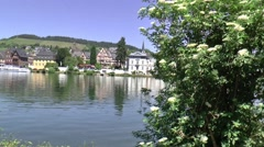 View at  Bernkastel over the river Moselle Stock Footage