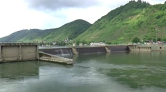 Staustufe St. Aldegund is  a barrage is a type of low-head, diversion dam Stock Footage