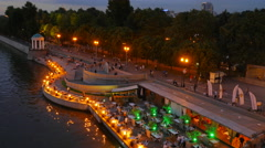 Timelapse of Olive Beach in Gorky Park on the banks of the Moscow River July Stock Footage