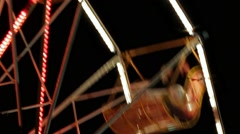Ferris Wheel In Night Park With Decorative Lighting Stock Footage