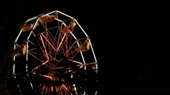 Ferris Wheel Park At Night Stock Footage