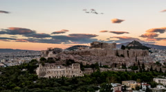 Sunset at the Acropolis - Athens, Greece Stock Footage