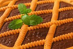 Lattice topped chocolate tart - detail Stock Photos