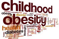 Childhood obesity word cloud - stock photo