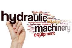 Hydraulic machinery word cloud Stock Photos