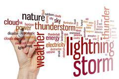 Lightning storm word cloud Stock Photos