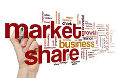 Market share word cloud concept Stock Photos