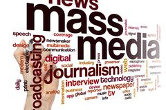 Mass media word cloud Stock Photos