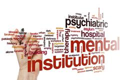 Mental institution word cloud - stock photo