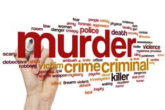 Murder word cloud Stock Photos