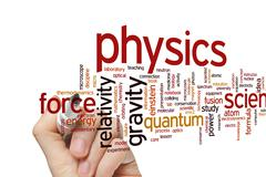 Physics word cloud - stock photo