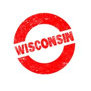 Rubber Ink Stamp Wisconsin - stock illustration