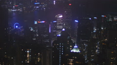 Lit up Hong Kong city slow tilt 4K Stock Footage