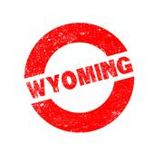 Rubber Ink Stamp Wyoming - stock illustration