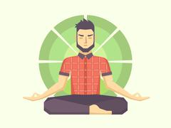 Stock Illustration of Man meditates in the Lotus position