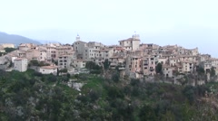 Medieval village, hilltop view, France Stock Footage