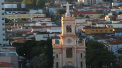 Piracicaba city, Sao Paulo state, Brazil. Aerial view. Church. Stock Footage