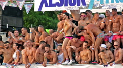 Madrid, Spain. July 2015. Group of men dancing in the parade of the Gay Pride Stock Footage