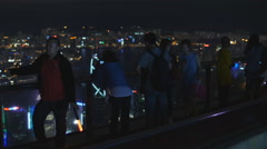 Hong Kong Peak Lookout at night 4K Stock Footage
