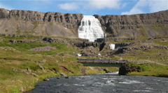 Bridge over river from Dynjandi waterfall, Iceland in summer 2 Stock Footage