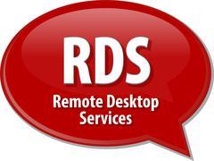 Stock Illustration of RDS acronym definition speech bubble illustration