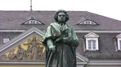 Medium shot of Beethoven statue in Bonn Old Town Arkistovideo