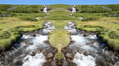 Double waterfall hydrologic cycle artistic, Iceland summer Stock Footage