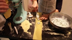 Couple Making Fresh Pasta on Counter Stock Video Stock Footage
