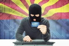 Hacker with US state flag on background - Arizona - stock photo