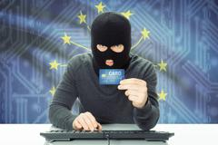 Hacker with US state flag on background - Indiana - stock photo