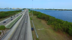 Aerial Julia Tuttle Causeway Miami Beach 4k Stock Footage