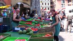 French Market - vendors selling products, France Stock Footage