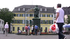 Old Town square in Bonn with statue of Beethoven Arkistovideo