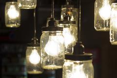 Mason Jar Lightbulbs Stock Photos