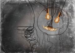 Edison Lightbulbs Face Stock Photos
