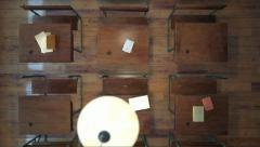 AA reproduction of an old classroom from above - stock footage