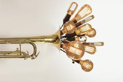 Edison Lightbulbs Trumpet Stock Photos
