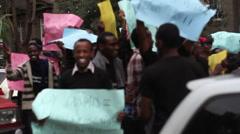 Teachers protest on the street in Nairobi, Kenya, Africa Stock Footage