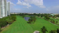 Aerial low flyover golf course 4k  Stock Footage