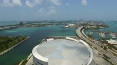 Aerial panoramic Downtown Miami 4k Stock Footage