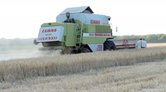 Combine Harvester Working a Wheat Field Stock Footage