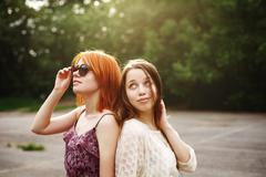 Two Best Friends Teen Girls Staying Together - stock photo
