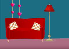 Cartoon bedroom with sofa, pillows and floor lamp - stock illustration