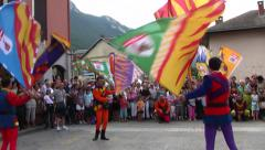 Costumed Skilled Italian Flag Throwers, Team Throwing, Italy Stock Footage