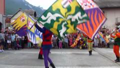 Stock Video Footage of Costumed Skilled Italian Flag Throwers, Team Throwing, Italy  (with music)