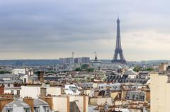 Eiffel Tower and Grand Palais, roofs of Paris Stock Photos