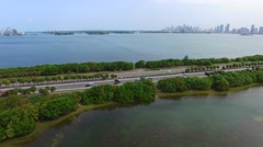 Aerial video Julia Tuttle Causeway Miami Beach 4k  Stock Footage