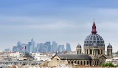 Saint-Augustin Church with La Defense in The Background. Stock Photos