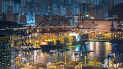 Hong Kong industrial port Timelapse Stock Footage