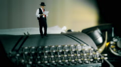 Tiny film noir style man reading and pacing on vintage typewriter Stock Footage